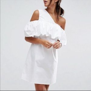 ASOS White One Shoulder Ruffle Front Shift Dress